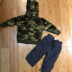 Camo hoodie and grey insulated pants
